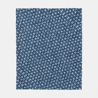 Navy Blue Shibori Geometric Tessellation Fleece Blanket