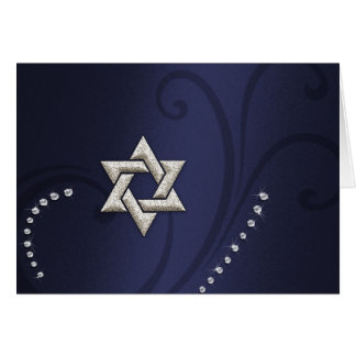 Navy Blue Shimmer w/ Silver Star Card