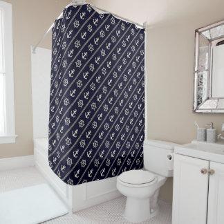 Navy Blue Ship Wheel Anchor Nautical Bathroom Shower Curtain