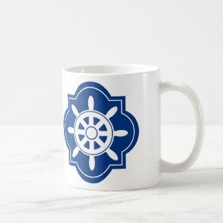 Navy Blue Ships Wheel Silhouette Coffee Mug