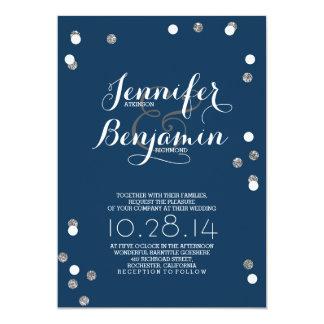 Navy Blue & Silver Confetti Modern Wedding Invite