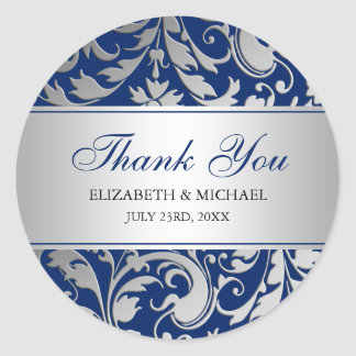 Navy Blue Silver Damask Swirls Wedding Thank You Classic Round Sticker