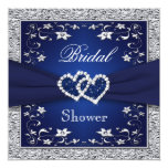 Navy Blue, Silver Floral, Hearts Bridal Shower 13 Cm X 13 Cm Square Invitation Card