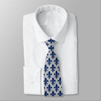 Navy Blue Silver Gray Fleur De Lis Pattern Tie