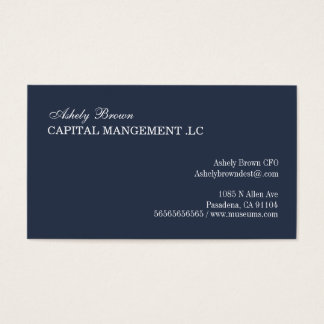 Navy Blue Simple Business Card