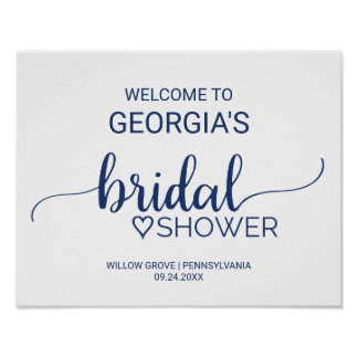 Navy Blue Simple Calligraphy Bridal Shower Welcome Poster