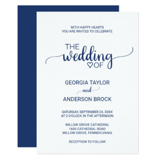 Navy Blue Simple Calligraphy Wedding Card