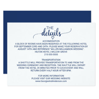 Navy Blue Simple Calligraphy Wedding Details Card