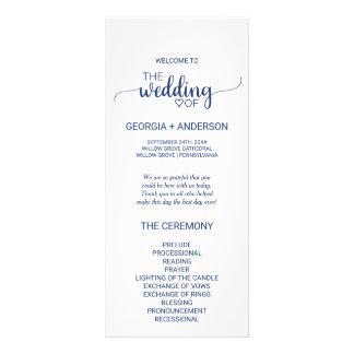 Navy Blue Simple Calligraphy Wedding Program Rack Card