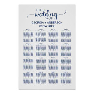 Navy Blue Simple Calligraphy Wedding Seating Chart Poster