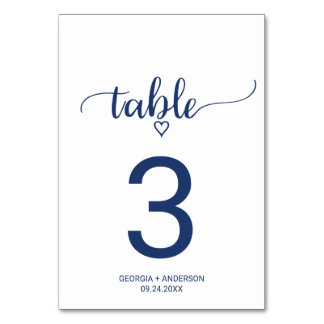 Navy Blue Simple Calligraphy Wedding Table Number
