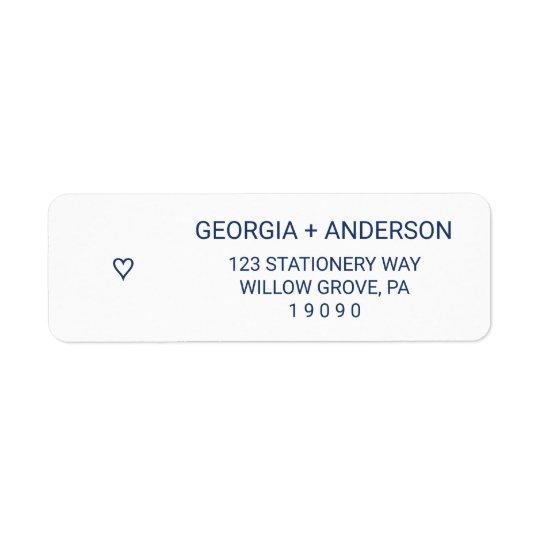 Navy Blue Simple Heart Wedding Return Address Label