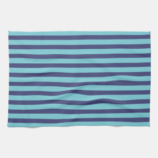 Navy Blue & Sky Blue Stripes Tea Towel