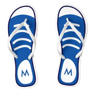 Navy Blue Sneaker Shoes Cool Funny Look Monogram Thongs
