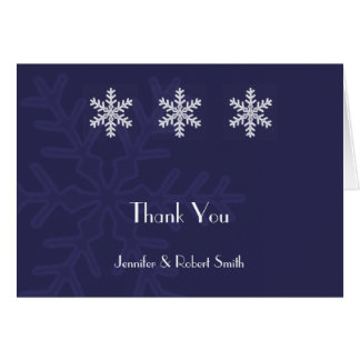 Navy Blue Snowflake Winter Wedding Thank You Card