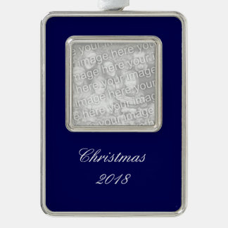 Navy Blue Solid Color Customize It Silver Plated Framed Ornament