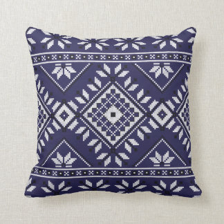 Navy Blue Southwest Native Tribal Aztec Pattern Throw Pillow