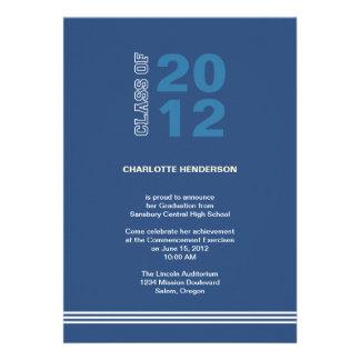 Navy blue sport stripe graduation class invitation