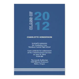 "Navy blue sport stripe graduation class invitation 5"" x 7"" invitation card"
