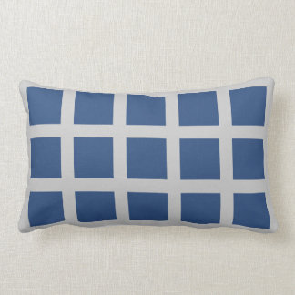 Navy Blue Squares Gray Frames Pillow Throw Cushions
