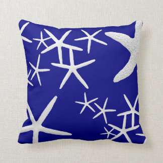 Navy Blue Starfish Pattern Decorative Throw Pillow