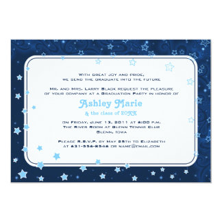 Navy Blue Stars Starry Night Graduation Invitation