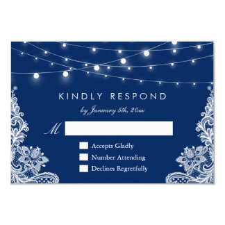 Navy Blue String Lights Lace Wedding RSVP Reply Card