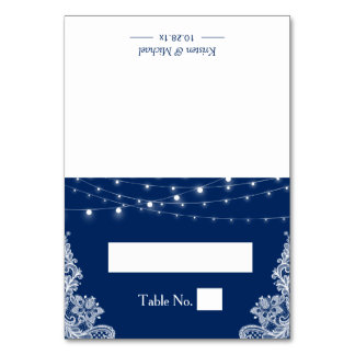 Navy Blue String Lights Lace Wedding Seating Place Card