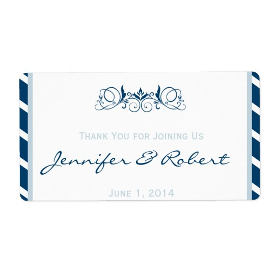 Navy Blue Stripe Floral Accent Water Bottle Label