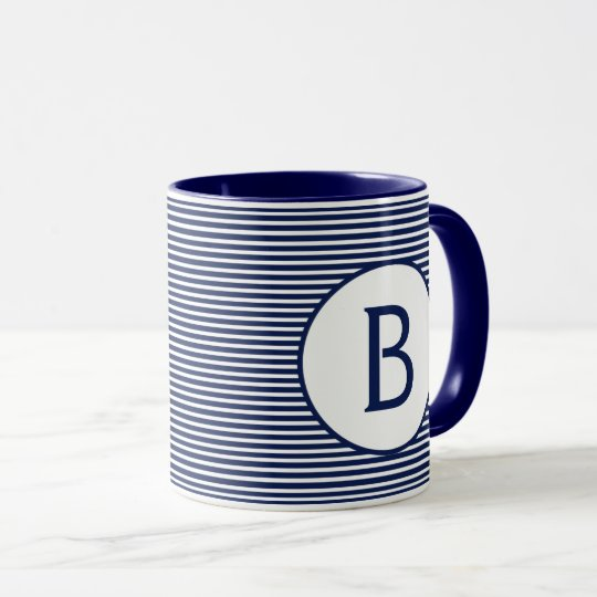 Navy Blue Stripe Monogram Mug