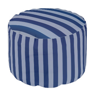 Navy Blue Stripe Pattern Pouf