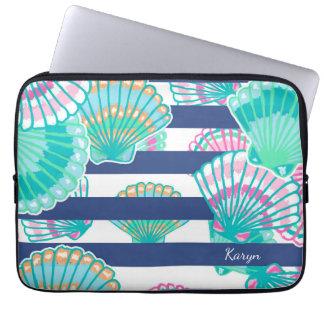 Navy Blue Stripe Seashell Laptop Sleeve