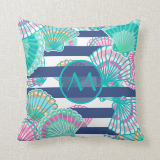 Navy Blue Stripe Seashell Monogram Cushion