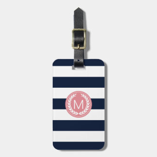Navy Blue Stripe with Pink Laurel Wreath Monogram Bag Tag