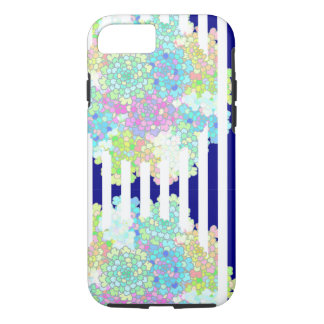 Navy Blue Striped Blues Flowers Phone Cases