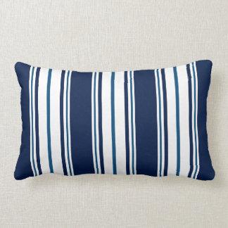 Navy Blue Striped Nautical Lumbar Pillow