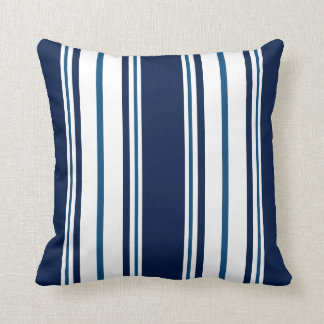 Navy Blue Striped Nautical Throw Pillow