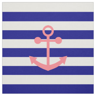 Navy Blue Stripes and Blush Pink Nautical Anchor Fabric