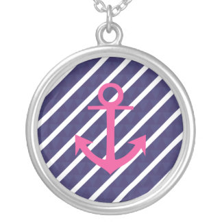 Navy Blue Stripes And Hot Pink Anchor Design Pendants