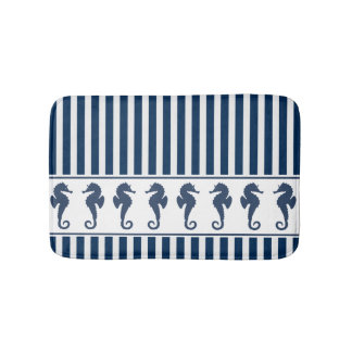 Navy Blue Stripes and Sea Horses Bath Mat