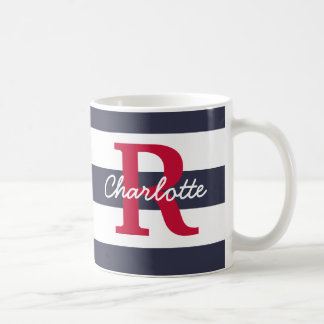 Navy Blue Stripes Crimson Monogram Coffee Mug