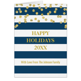 Navy Blue Stripes Gold Confetti Happy Holidays Card