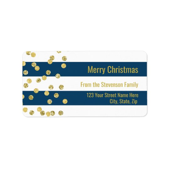 Navy Blue Stripes Gold Confetti Merry Christmas Label