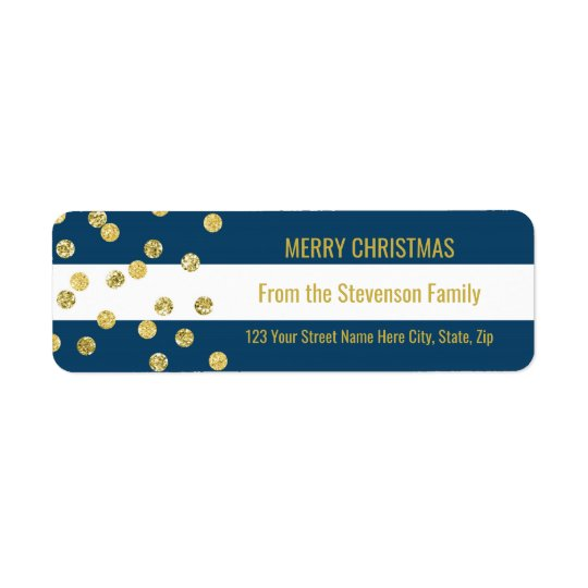Navy Blue Stripes Gold Confetti Merry Christmas Return Address Label
