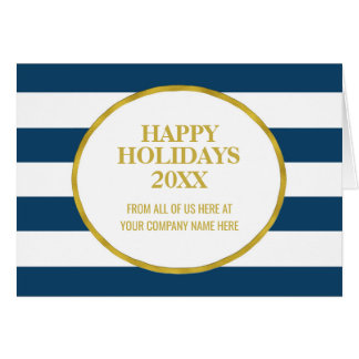 Navy Blue Stripes Gold Corporate Christmas Card
