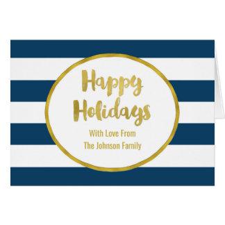 Navy Blue Stripes Gold Happy Holidays Card