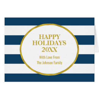 Navy Blue Stripes Gold Happy Holidays Custom Card