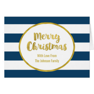 Navy Blue Stripes Gold Merry Christmas Card