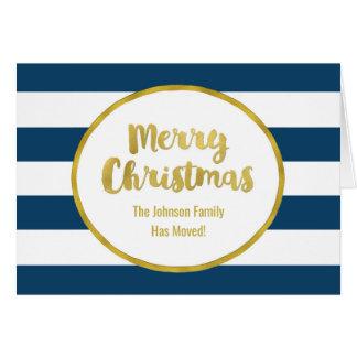 Navy Blue Stripes Gold Merry Christmas New Address Card