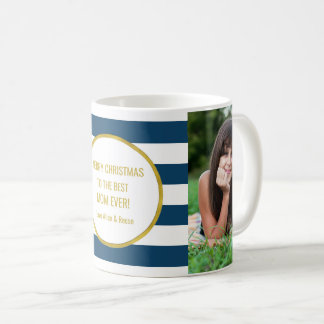 Navy Blue Stripes Gold Photo Best Mom Christmas Coffee Mug